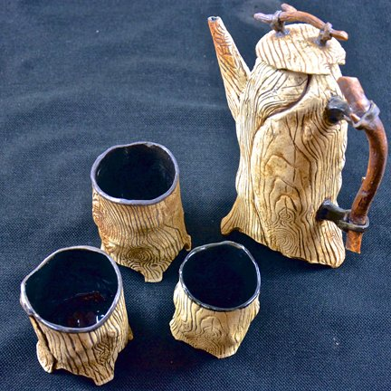 Carl Bice: Untitled Teapot And Cups