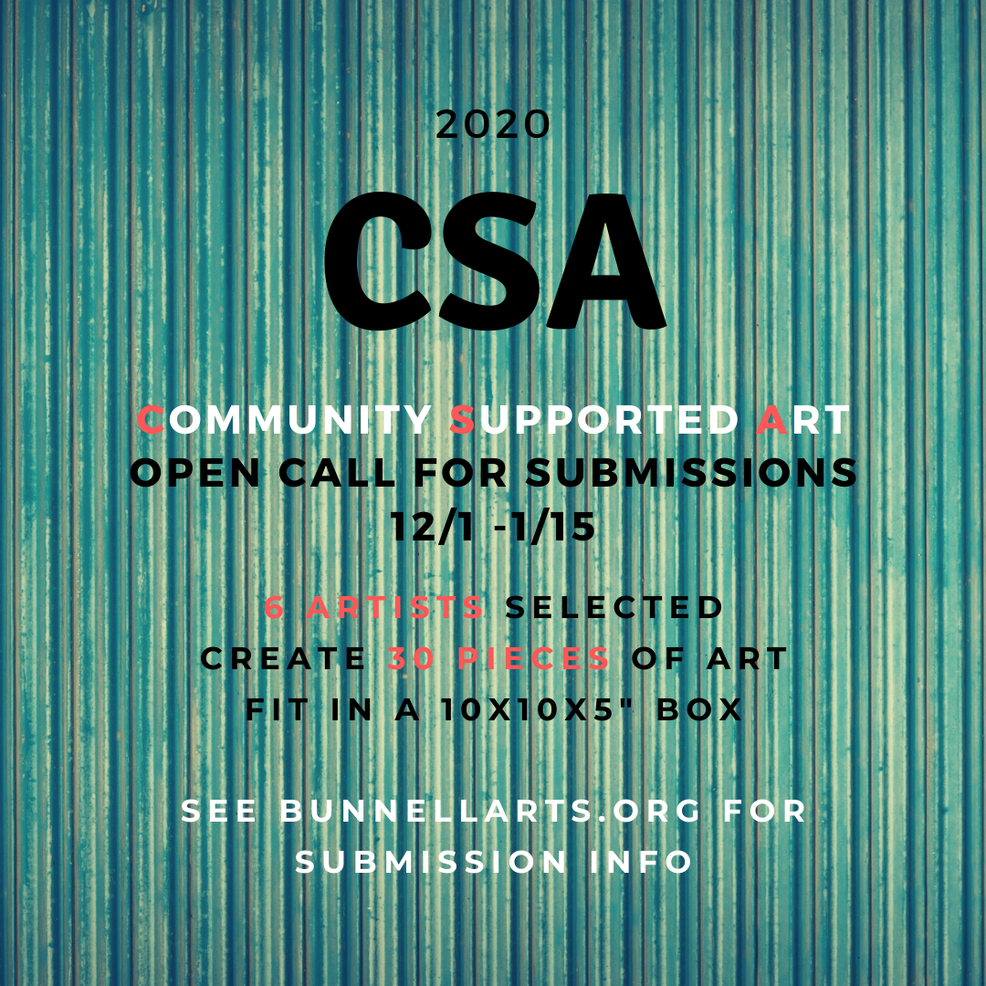 Call For CSA 2020 Artists, Open 12/1 – 1/15