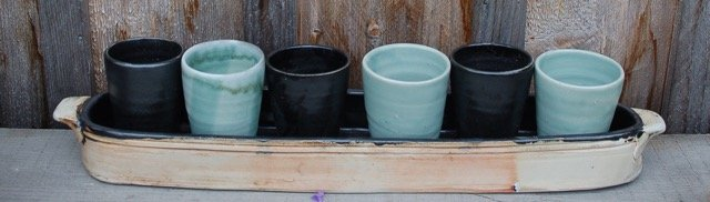 """All In The Same Boat By Lisa Wood Ceramic Tray With Ceramic Glasses, 21"""" X 5"""" X 4"""""""