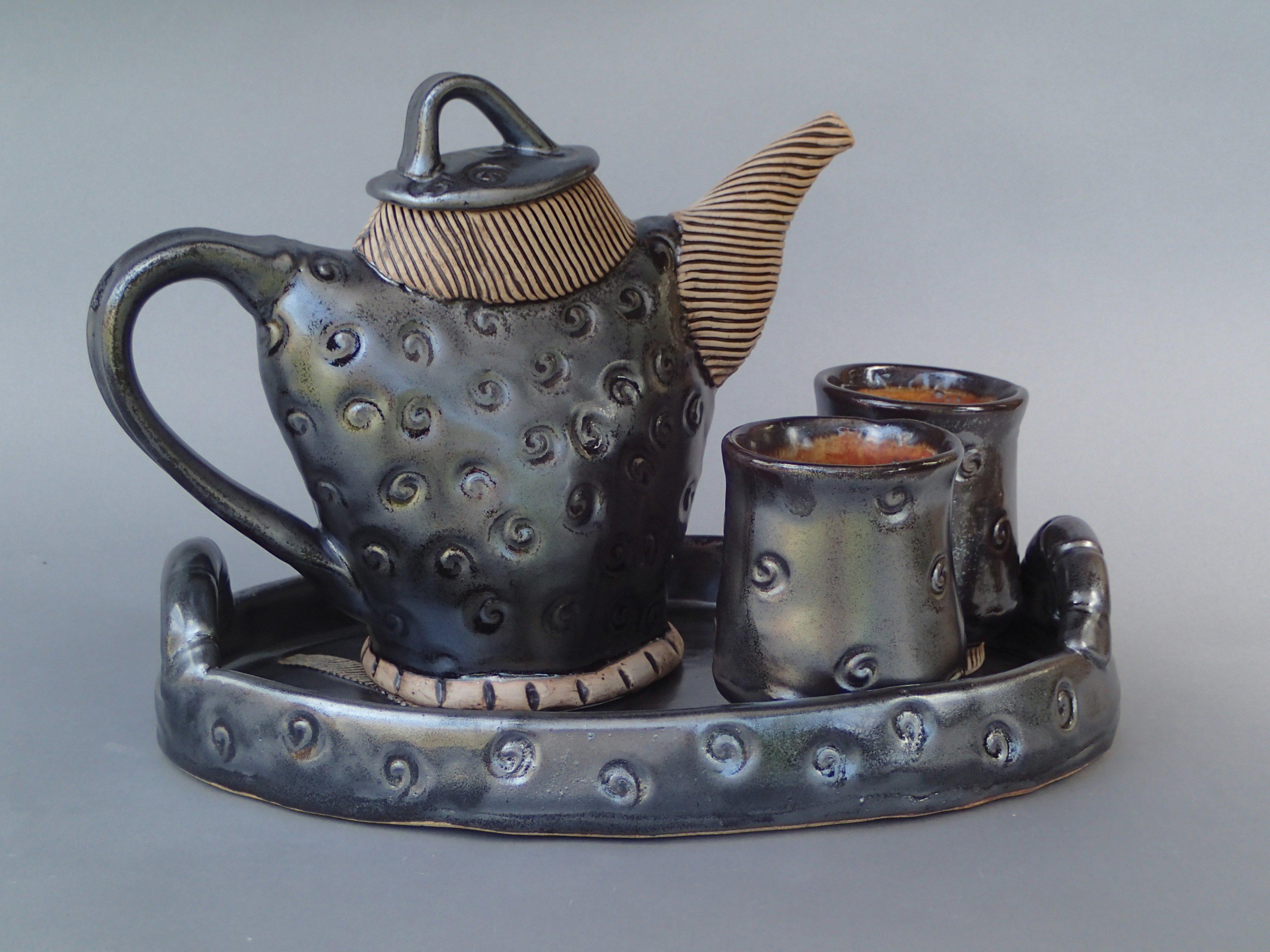 """Black Tea Service  By Marie Herdegen  Porcelain, 9"""" X 12"""" X 8"""""""
